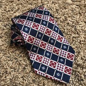 Stafford | Red & Blue Checked Pattern Silk Tie